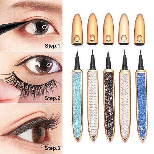 1 PC 2021 Self-adhesive 2 In 1 Magic Lash Liner Glue Pen Non Magnetic No Glue Diamond Bling Glitter Liquid Eyeliner Waterproof