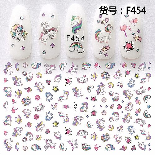 Self adhesive flower unicorn pattern nail art decorations stickers and decals acrylic manicure nails supplies tool HQ