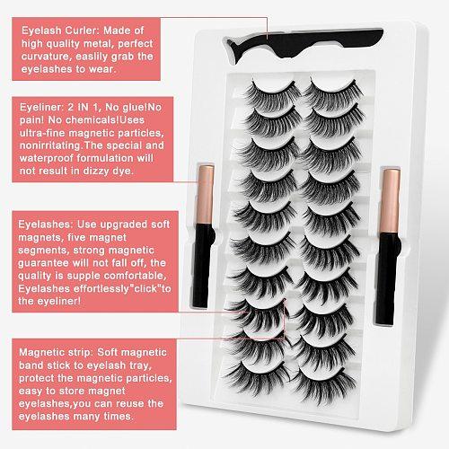 2/7/10 Magnetic Eyelashes 3D Mink False Lashes Magnetic Eyeliner Waterproof Liquid  Set Lasting Handmade Eyelash Makeup Tool