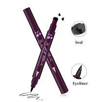 2 In 1 Liquid Glitter Eyeliner with Eyeliner Stamp Thin Wing Seal Makeup Black Brown Smoky Eyes Liner Pencil