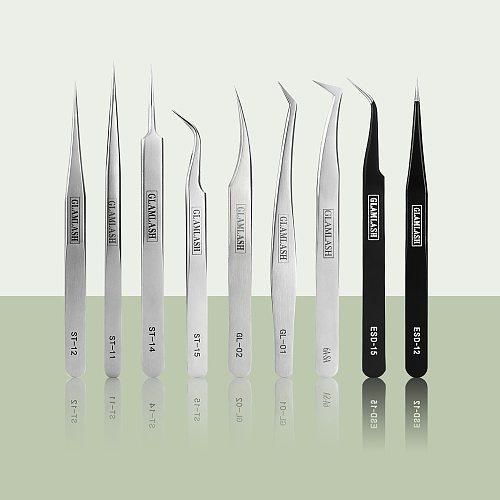 Glamlash ESD ST SA Series Anti-static Tweezer Curved Tweezer Straight Tip Tweezer Makeup Tool