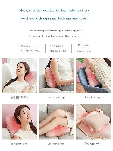 Multi-function whole body kneading massage pillow wireless convenient back waist cervical vertebra pad for office worker