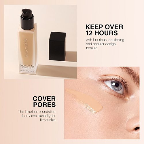 BANXEER Essence Liquid Foundation Full Coverage Face Makeup Base Waterproof Moisturizing For Women Skin Use
