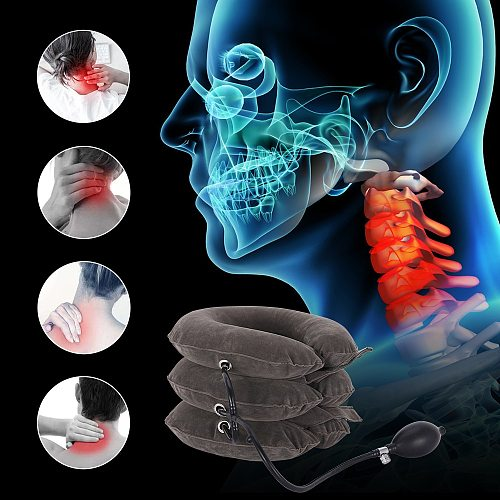 OLIECO Inflatable Air Cervical Neck Traction Collar Soft Travel Neck Stretching Brace Support Cervical Vertebra Posture Correct
