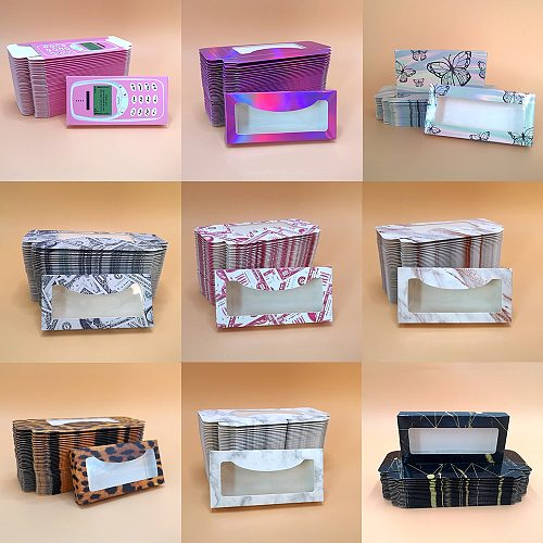 Eyelash Packaging Box Wholesale 100 Pcs 3D Mink Lashes  Bulk Empty Box 25mm Mink Eyelashes Cases False Eyelashes Paper Box