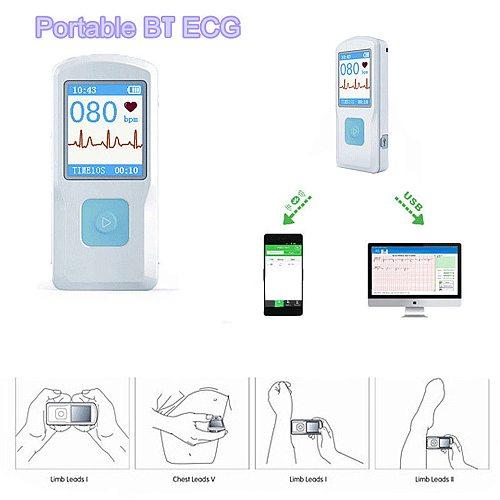Portable Mini ECG EKG Machine Heart Rate Monitor BT USB PC Software Health Care Color Screen ECG Monitor Handheld Heart Machine