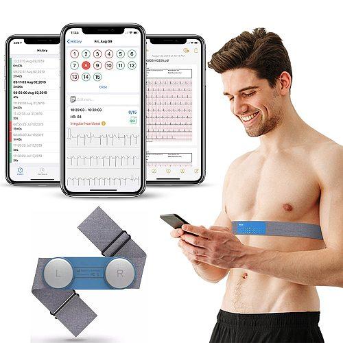 Bluetooth Wearable EKG Monitor ECG Machine Heart Monitoring Device Portable Handheld EKG Monitor USB Charging PDF Data Report