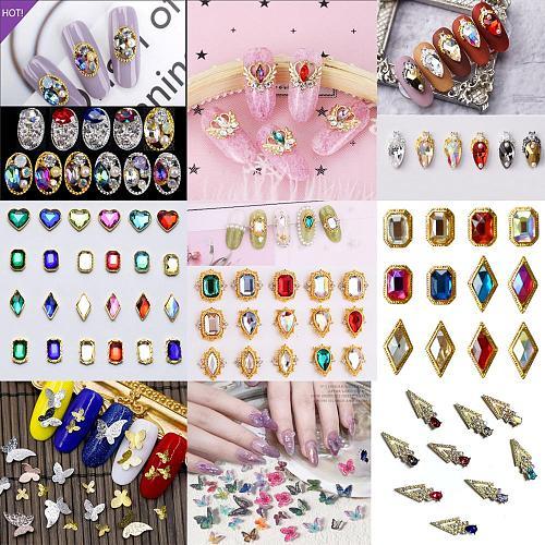 10PCs Mix Random 3D Gems Rhinestones Nails Strass Nail Art Decorations Stone Accessories Supplies Charms Butterfly Glitter