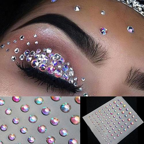 2020 Fashion Tattoo Diamond Crystal Sticker Body Face Makeup Temporary Glitter Eyes Stickers DIY Nail Art Rhinestone Decor