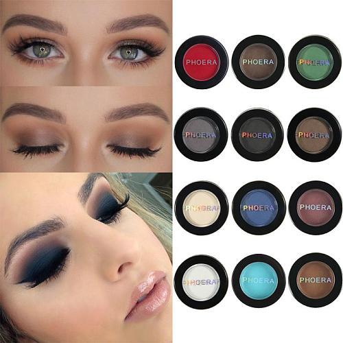 1PC PHOERA 12 Single Colors Eye Shadow Natural Matte Waterproof Long Lasting Sweatproof Pigment Eyeshadow Makeup Cosmetic TSLM1