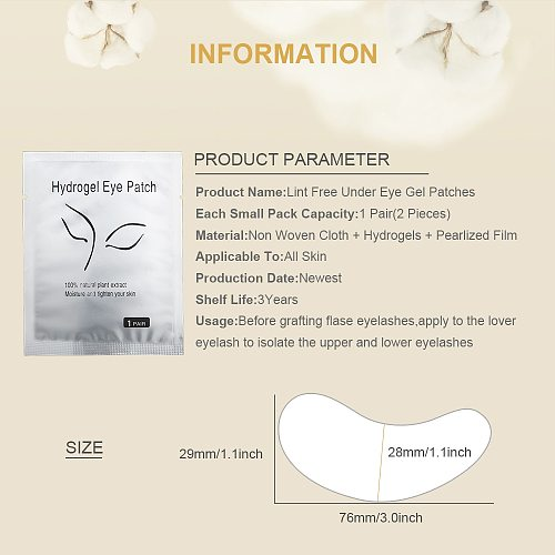 100Pairs/Lot Under Eye Pads Lash Eyelash Extension Paper Patches Eye Tips Sticker Wraps Paper Patches Eyelash Make Up Tool