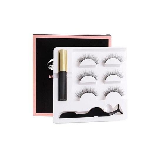 Magnetic faux cils Eyelash liquid eyeliner maquillaje False Eyelashes & Tweezer Set magnetic makeup extension