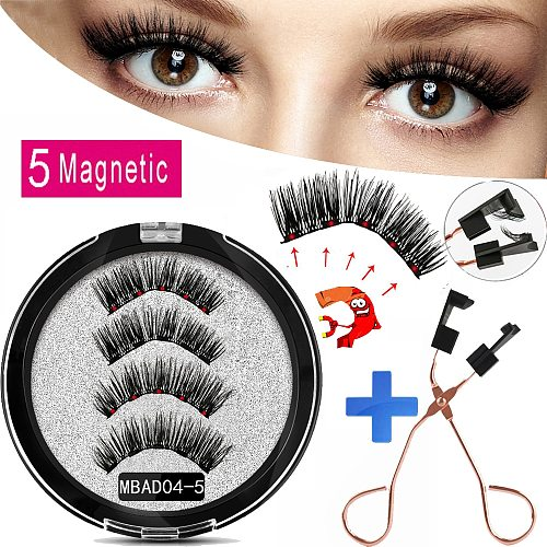 MB MEW 5 Magnets Magnetic Eyelashes With Handmade 3D False Eyelashes For Mink lashes New Faux Cils Magnetique Naturel Tweezers