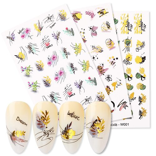 Gold Water Nail Stickers Summer Flower Water Decals Dress Slider Nail Foil Wraps DIY Nail Art Decoration