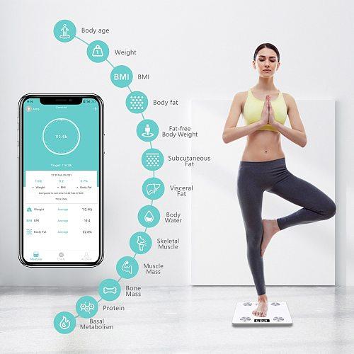 Sinocare Body Fat Scale Smart Bluetooth Bathroom Weight Scale Health Monitoring Wireless Digital BMI Body Composition Analyzer