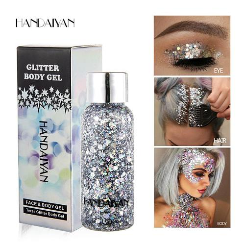 HANDAIYAN Holographic Mermaid Glitter Eyeshadow Gel For Body Face Liquid Loose Sequins Pigments Makeup Cream Festival Gems TSLM1