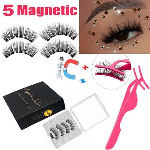 LEKOFO New 5 Magnetic Eyelashes 3D Magnet Mink Lashes Thick faux cils magnetique Natural Handmade Eye Lashes free False Eyelashe