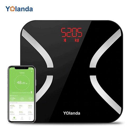 Yolanda Smart Body Fat Scale Bluetooth Digital Bathroom Scales Weight Balance Body Fat Monitors 11 Body Composition Analyzer