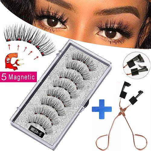 New MBA 5 Magnetic Eyelashes Curler Set Long 3D Mink Magnetic lashes Wear faux cils magnetique Natural Thick False Eyelashes