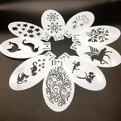 9PCS Stencils for Face Painting Body Art Halloween Birthday Party DIY Makeup Stamps Temporary Tattoos Layering Stencils Plastics
