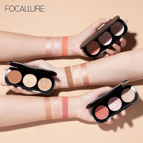 FOCALLURE New Arrivel 3 Colors Blush&Highlighter Palette Face Matte Highlighter Powder Illuminated Blush Powder