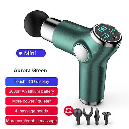 Mini Fascia Gun LCD Display Massage Gun Deep Muscle Massager Gun Body Tissue Percussion Massager High Frequency Portable Device
