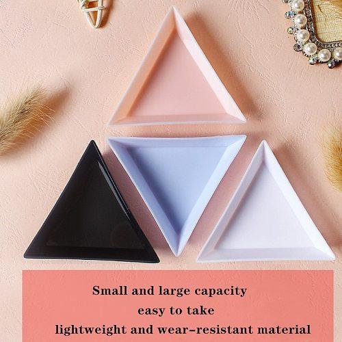 Hot 5/10PCS Plastic Triangle Nail Tray DIY Nail Art Rhinestone Bead Crystal Sorting Storage Plate Manicure Tools Accessory
