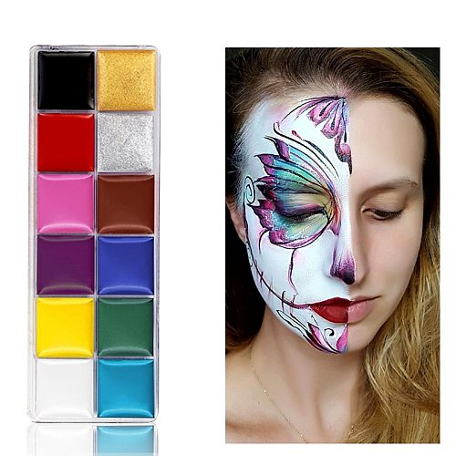 12 Colors Face Painting Paint/Pigment Body Art Paint Makeup Children Halloween Party Safe Oily Paints with Brushes Drama Make Up