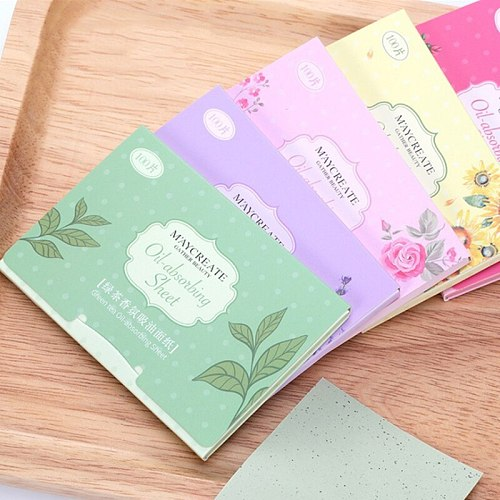 100Pcs Facial Oil Blotting Papers Oil Absorbing Sheets Face Cleanser Acne Treatment Deep Cleansing Oil Control Film Face Makeup