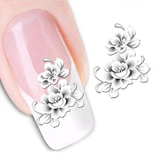 1sheets Fashion White Flower Beauty Polish Items Nail Art Decals French Tips Water Transfer Tattoos Stickers Nail Tool LASTZ