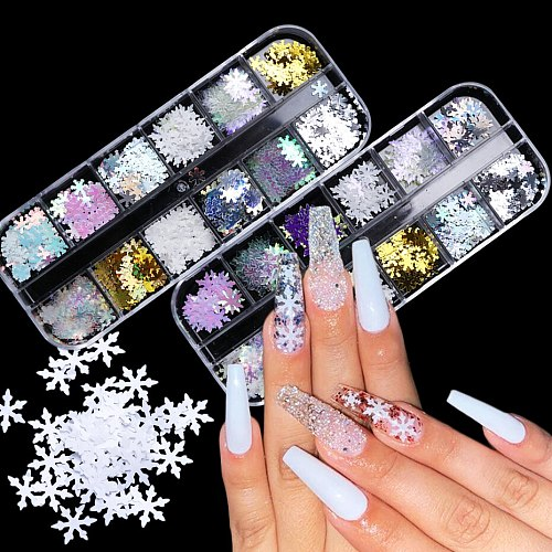 12 Grids Snowflake Nail Sequins3D Laser Mirror Shiny Slices Winter Christmas Glitter Nail Art Decoration Accessories LEXHH01-05