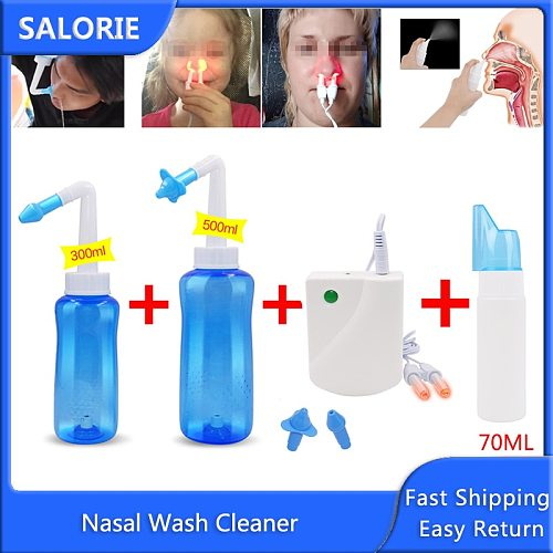 Nasal Wash Cleaner Nose Protector Cleans Moistens Sinus Rinse Allergic Rhinitis Cure Neti Pot 500ML/300ML/70ML Adult Children