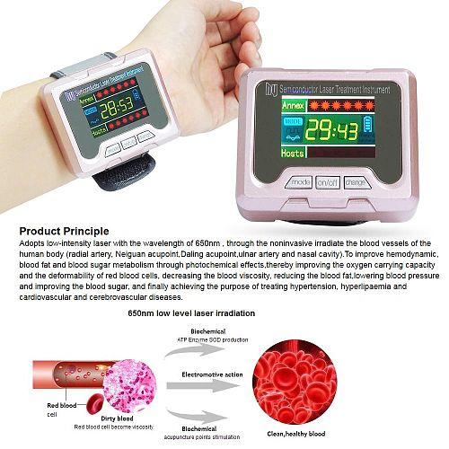 650nm Laser Therapy Watch Wrist Diode High Blood Pressure High Blood Fat Sugar for Diabetes Treatment Nose Rhinitis Cure Lllt