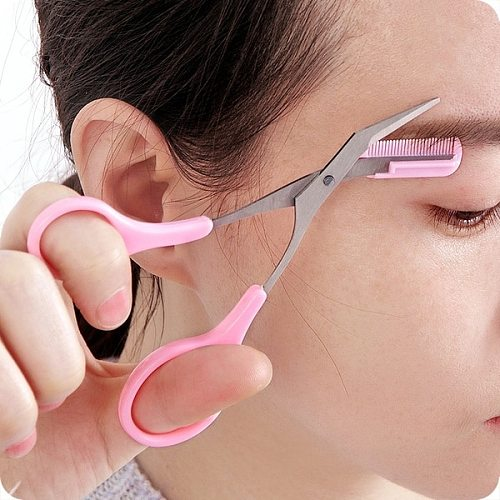 Women's fashion stainless steel with comb eyebrow trimmer trimming eyebrow scissors eyebrow knife