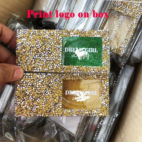 FOXYFOX Rhinestone Diamond False Eyelash Packaging Box Fake 3d Mink Eyelashes Boxes Diamond Shine Box Case Lashes Empty