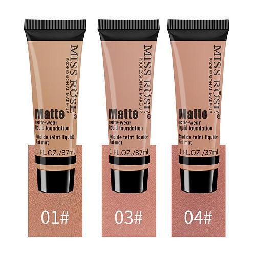 Miss Rose Natural Primer Makeup Matte Long Lasting Oil Control Liquid Foundation Cream Waterproof Concealer 37ml Cosmetic