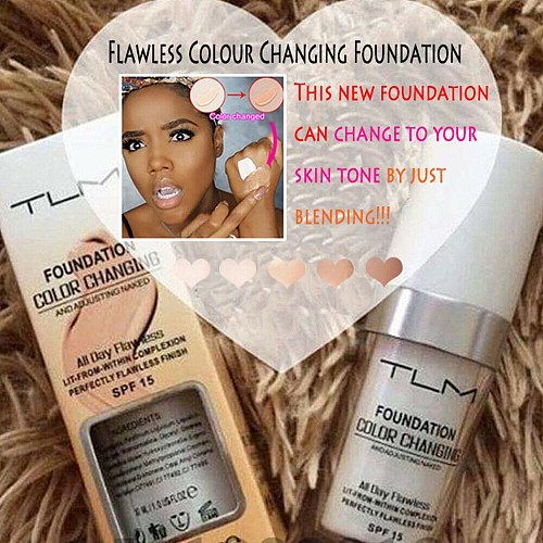 TLM Color Changing Foundation for All Skin Colour Makeup Base Liquid Foundation Cover Concealer Cream SPF15 30ML