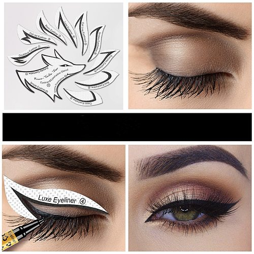 12pcs/bag Eye Makeup Stencils Winged Eyeliner Stencil Template Shaping Tools Eyebrows Eye Shadow Template Tool stickers Card