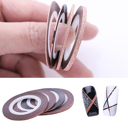 3Pcs Rose Gold Nail Striping Tape Line 1mm 2mm 3mm Sticker Matte Glitter Stickers DIY Decors Tool Nail Art Decoratio