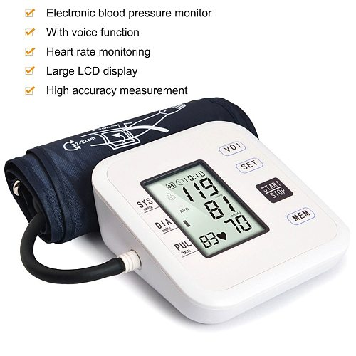 Upper Arm Style Automatic Electronic Blood Pressure Monitor WIth LCD Display Digital Intelligent Blood Pressure Meter