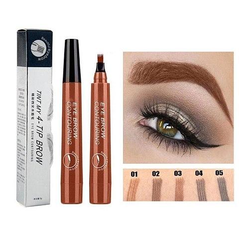 5 Colors Paint Makeup Eyebrows Microblading Eyebrow Pencil Tint 4 Tip Liquid Brow Tattoo Pen Waterproof Cosmetic Eye brow Liner