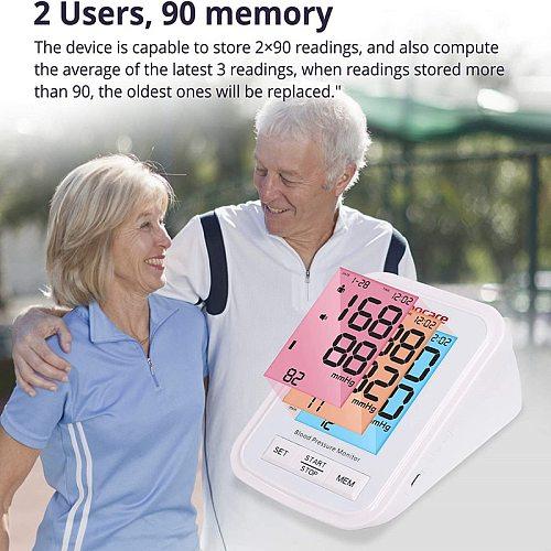 Sinocare Blood Pressure Monitor Tensiometer Upper Arm Automatic Digital BP Machine Pulse Heart Rate Meter 3 Color LCD Display