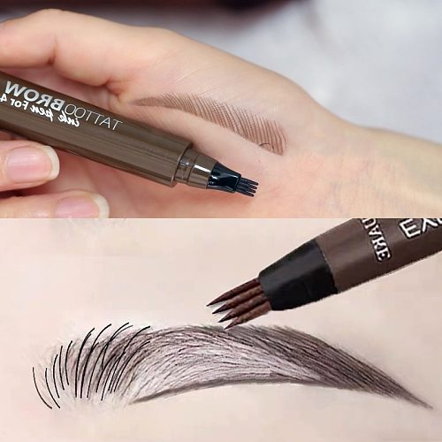 4 Points Eyebrows Pen 4D Hair-like Eyebrow Tattoo Pen Waterproof Fine Sketch Liquid Lazy 4D Imitation Ecological Eye Brow Pencil