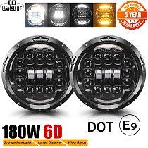 CO LIGHT 7  180W LED Headlight 6D Car Led Driving Lights Hi/Lo Beam DRL White Amber 12V Led for Jeep Wrangler Hummer Lada  Niva