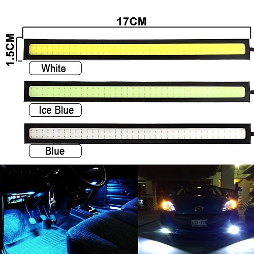6 pieces Super Bright 17CM LED COB Fog Bulb Car DRL LED Strip Daytime Running Light bar 12V 6500K Auto Interior Styling Lamp