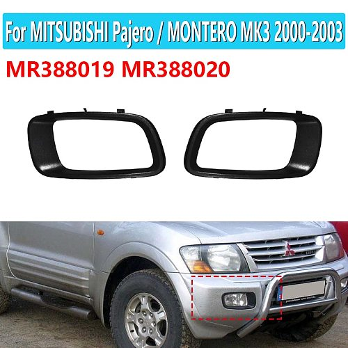 MR388019 MR388020 1Pair Car Front Fog Lamp Cover Frame For Mitsubishi Pajero Montero 2000 2001 2002 2003 V73 V75 V76 V77 V78