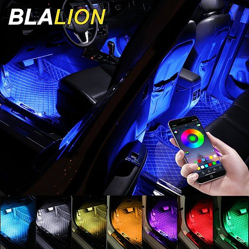 Car RGB Interior Strip Lights LED Decorative Ambient Light With USB Wireless Remote Music Control Multi Color Car Foot Light 12V