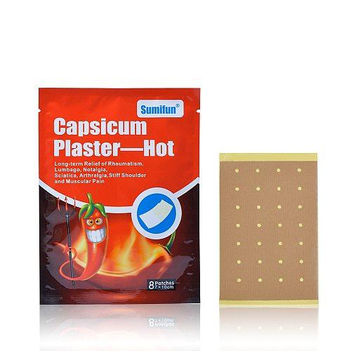 Sumifun 16Pcs Capsicum Plaster Hot Muscle Fatigue Neck Backache Shoulder Joint Pain Patch Body Massager D0672