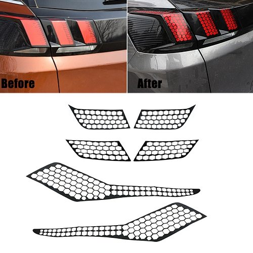 for Peugeot 3008 3008GT 2017 2018 2019 Car Rear Tail Light Lamp Cover Honeycomb Stickers Protector Taillight Decoration Decal