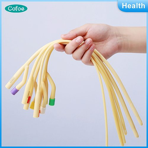 Cofoe 5pcs disposable urinary catheter medical sterilization two way Latex Foley Catheter urine catheter with soft valve